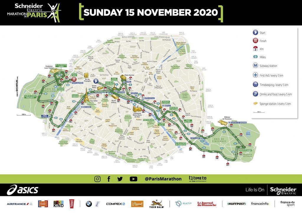 Трасса Парижского марафона (Shneider Electric Marathon de Paris) 2020