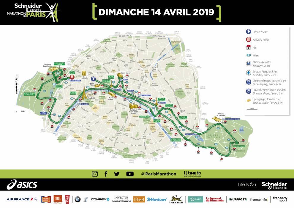 Трасса Парижского марафона (Shneider Electric Marathon de Paris) 2019