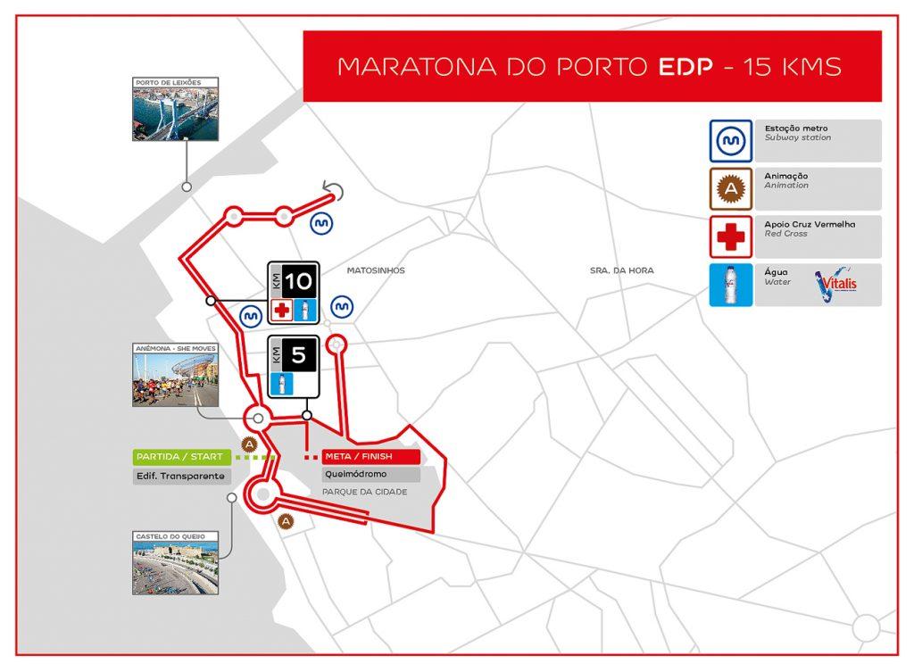Трасса забега на 15 км в рамках Марафона в Порту (Maratona do Porto EDP) 2019