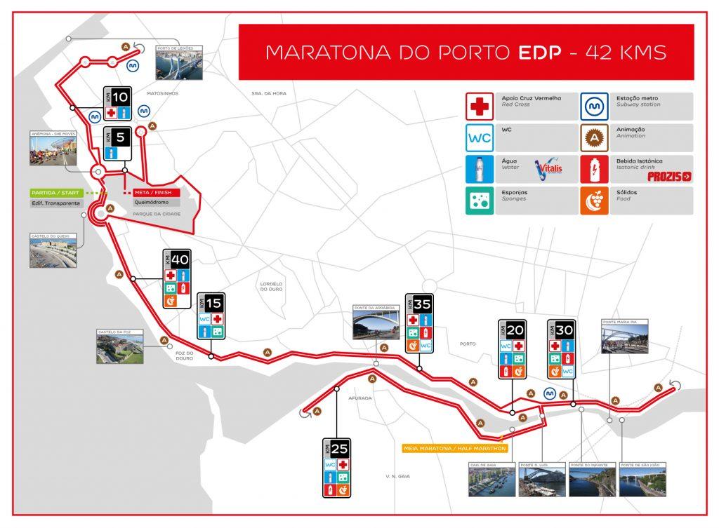 Трасса Марафона в Порту (Maratona do Porto EDP) 2019