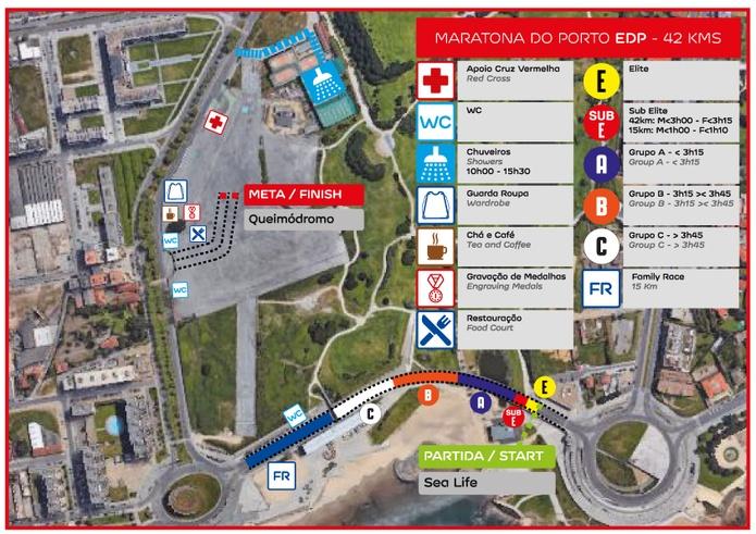 Зона старта и финиша забегов Марафона в Порту (Maratona do Porto EDP) 2020