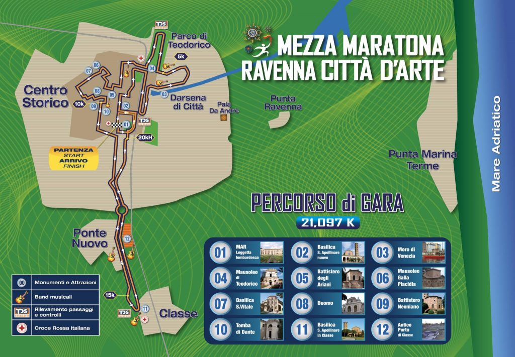 Трасса Равеннского полумарафона (Mezza Maratona Ravenna Città d'Arte) 2019