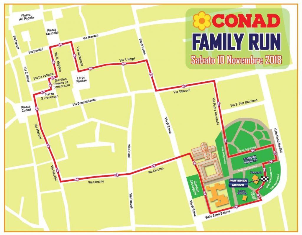 Трасса забега на 2 км в рамках Равеннского марафона (Maratona di Ravenna Città d'Arte) 2018