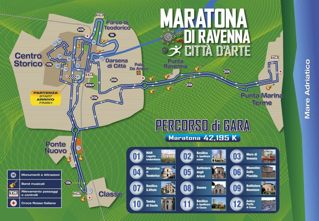 Трасса Равеннского марафона (Maratona di Ravenna Città d'Arte) 2019