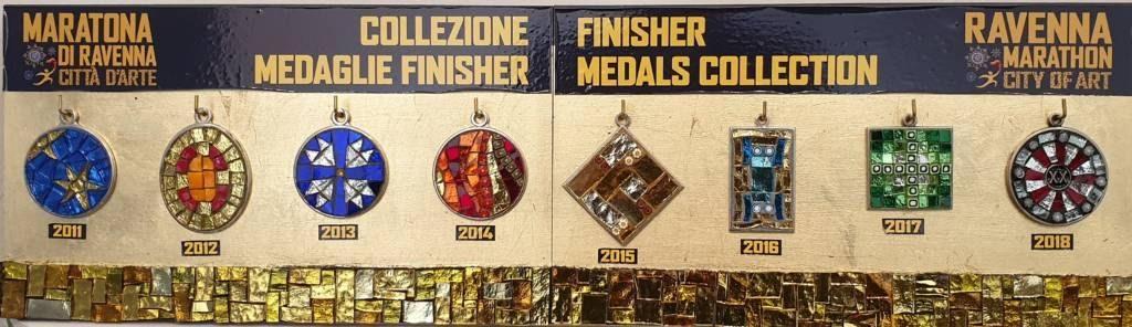 Медали марафона в Равенне с 2011 по 2018