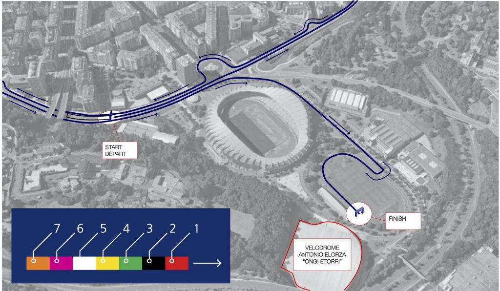 Зона старта и финиша Сан-Себастьянского марафона (Zurich Maratoia Donostia / San Sebastián) и полумарафона (Zurich Medio Maratón Donostia / San Sebastián) 2019 со стартовыми блоками