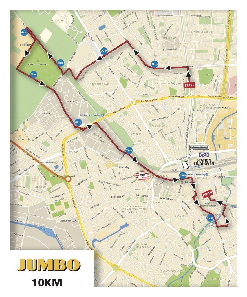Трасса забега на 10 км в рамках Эйндховенского марафона (Marathon Eindhoven powered by ASML) 2019
