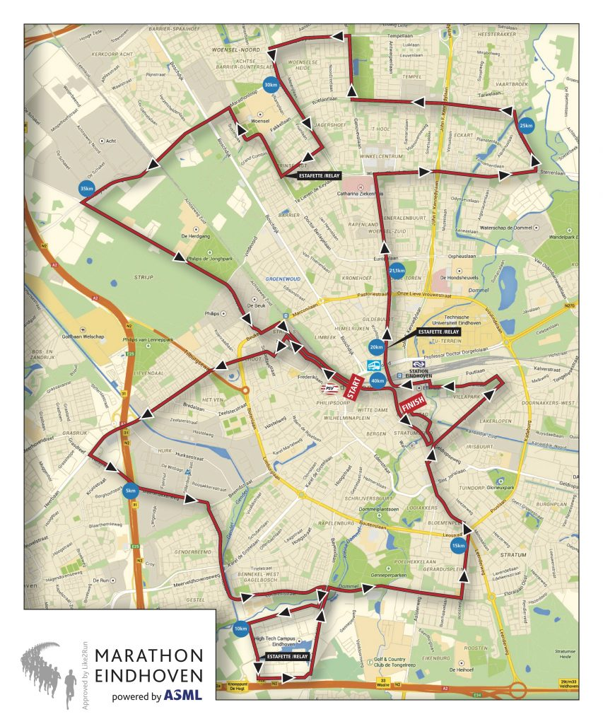 Трасса Эйндховенского марафона (Marathon Eindhoven powered by ASML) 2019 и эстафеты (Business Estafette Marathon)
