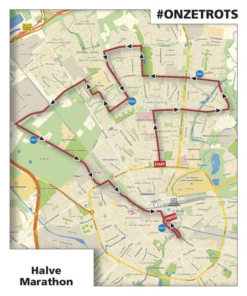 Трасса Эйндховенского полумарафона (Halve Marathon gepresenteerd door ED) 2019