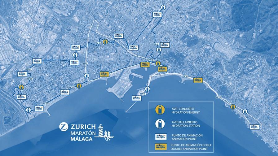 Трасса Малагского марафона (Zurich Maratón Málaga) 2019
