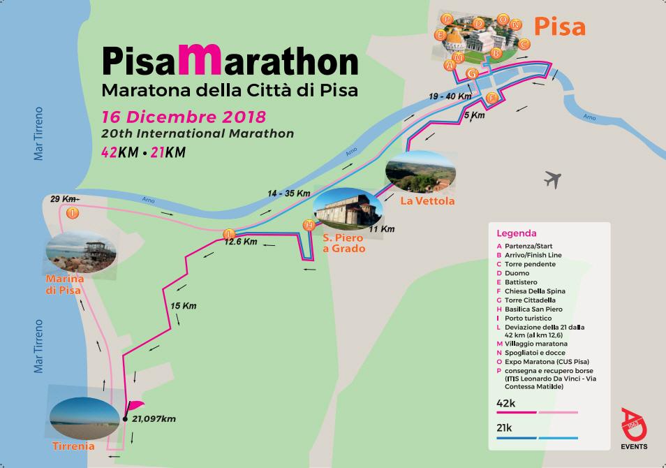 Трасса Пизанского марафона (Maratona di Pisa --- PisaMarathon) и полумарафона (La Pisanina) 2018 Трасса Пизанского марафона (Maratona di Pisa --- PisaMarathon) и полумарафона (La Pisanina) 2018