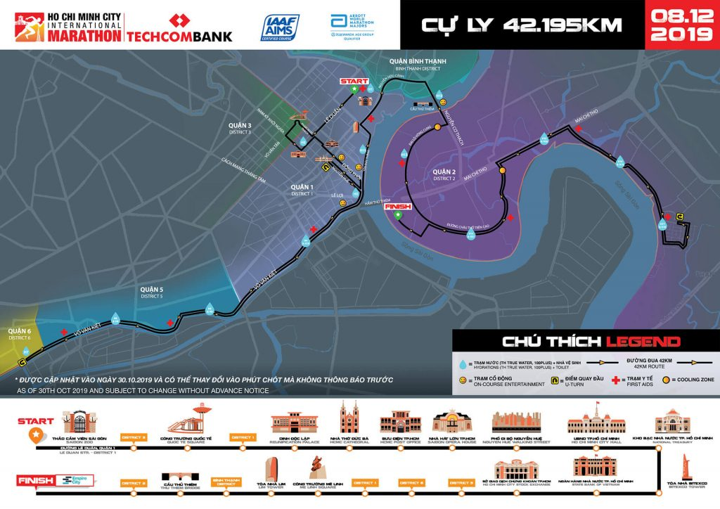 Трасса Хошиминского марафона (Techcombank Ho Chi Minh City International Marathon, Giải Marathon Quốc tế Thành phố Hồ Chí Minh Techcombank) 2019
