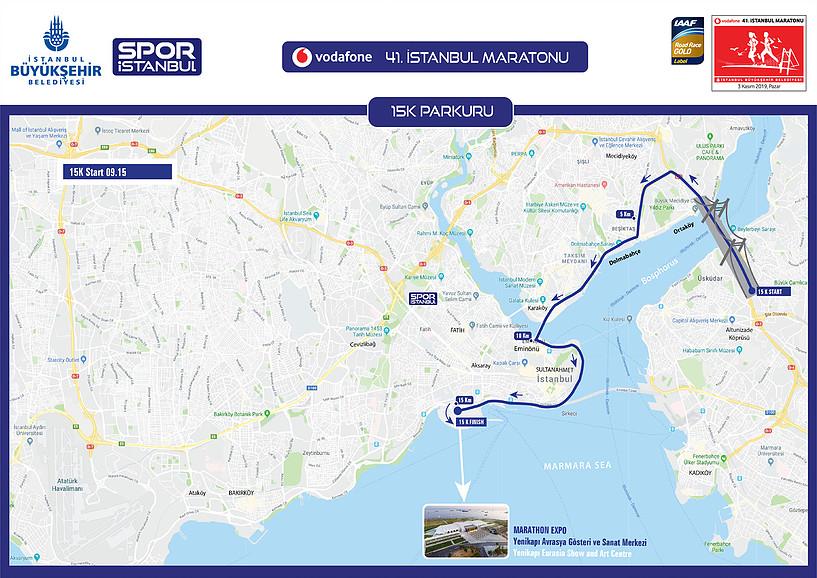 Трасса забега на 15 км в рамках Стамбульского марафона (Vodafone Istanbul Maratonu) 2019