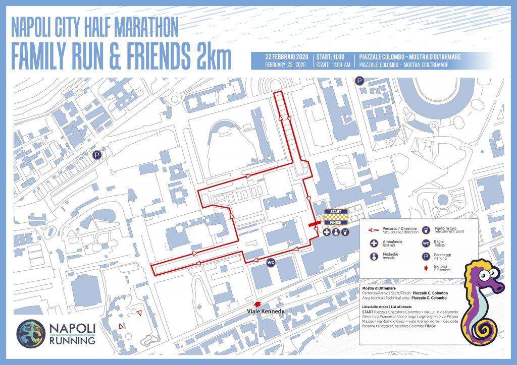 The course of the 2.5km Race, the Naples Half Marathon (Napoli City Half Marathon) 2020