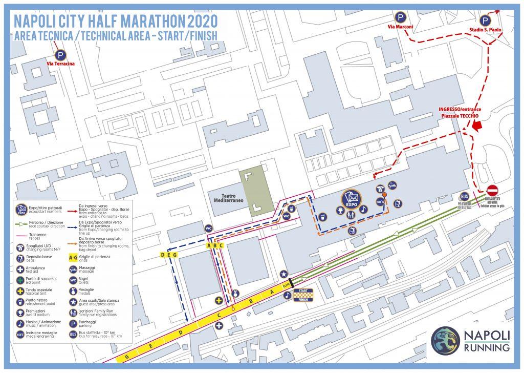Start and finish zone of the Naples Half Marathon (Napoli City Half Marathon) 2020