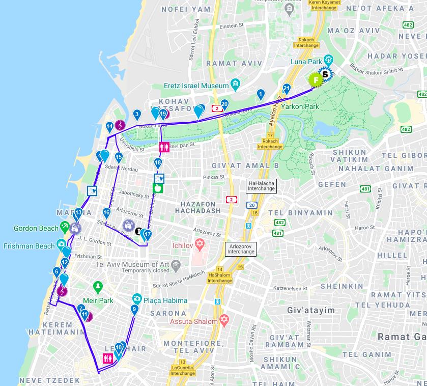Трасса Тель-Авивского полумарафона 2021
