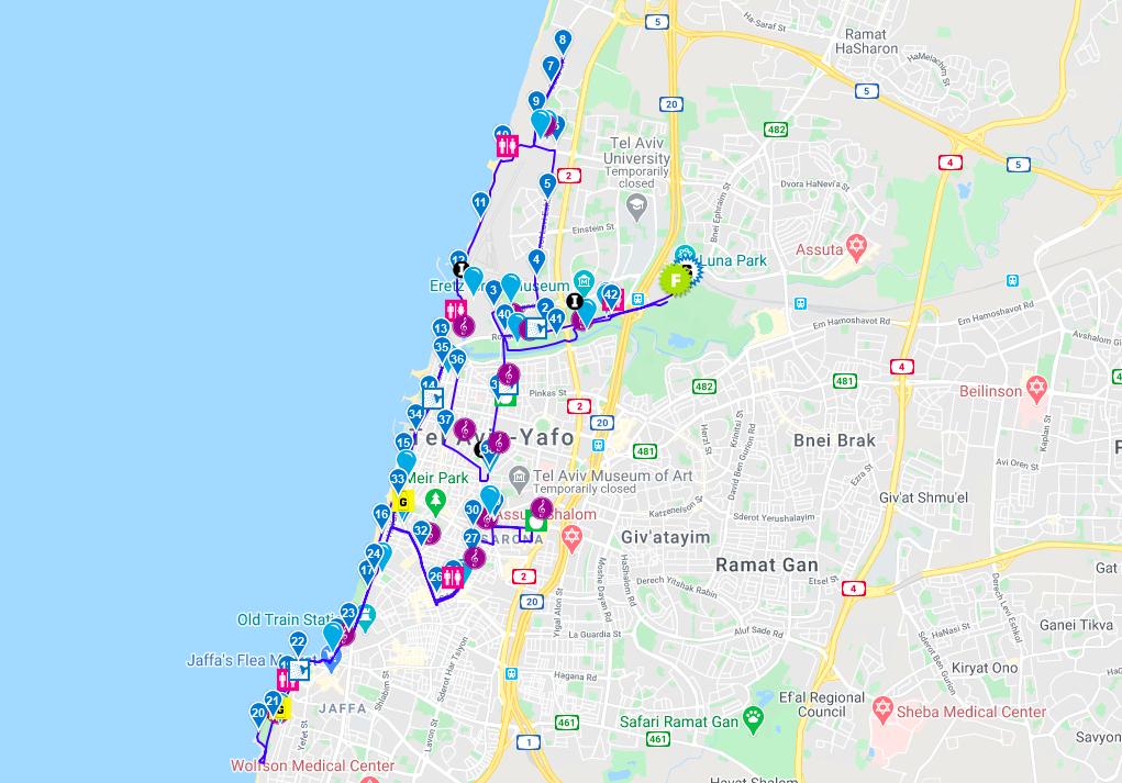 Трасса Тель-Авивского марафона (מרתון Samsung תל-אביב, Tel Aviv Samsung Marathon) 2021