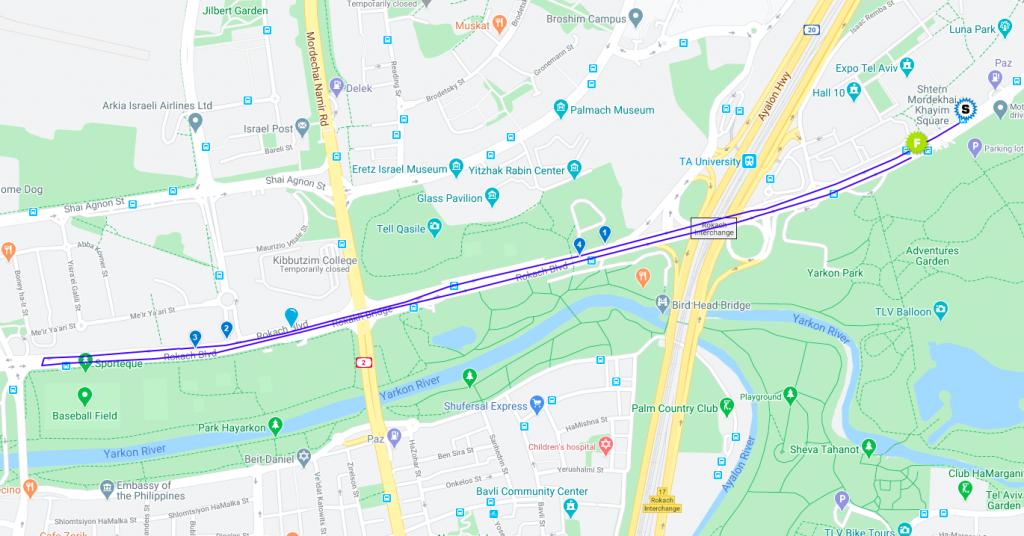 Карта забега на 5 км в рамках Тель-Авивского марафона (מרתון Samsung תל-אביב, Tel Aviv Samsung Marathon) 2021
