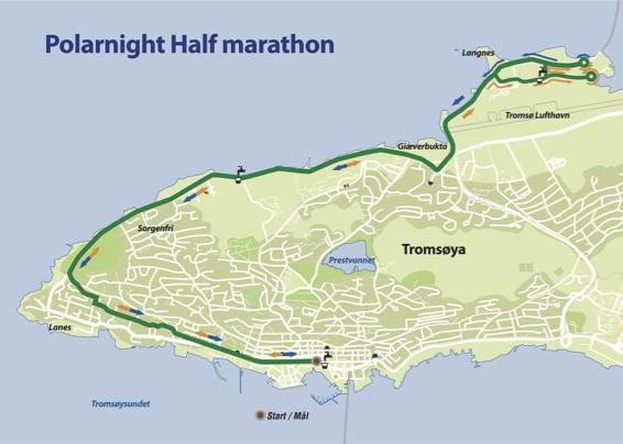 Course of the Tromsø Half Marathon (Polar Night Halfmarathon) 2022