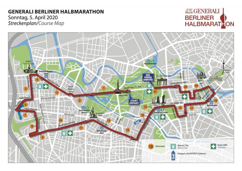 Course of the Berlin Half Marathon (Generali Berliner Halbmarathon) 2020
