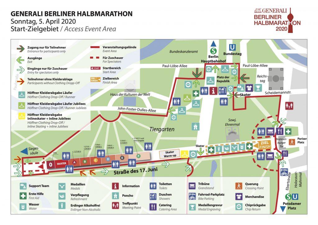 Start and finish zone with starting blocks, Berlin Half Marathon (Generali Berliner Halbmarathon) 2020