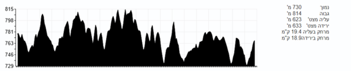 Altitude profile of the Jerusalem Winner Marathon 2021