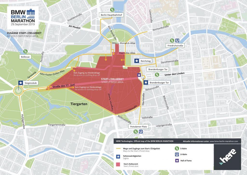 Пункты пропуска в зону старта/финиша Берлинского марафона (BMW Berlin-Marathon) 2019 и ближайшие станции общественного транспорта