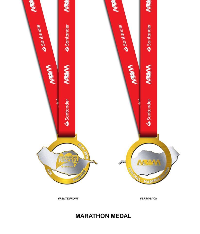 Медаль Фуншальского марафона (Maratona do Funchal --- Santander Totta) 2020