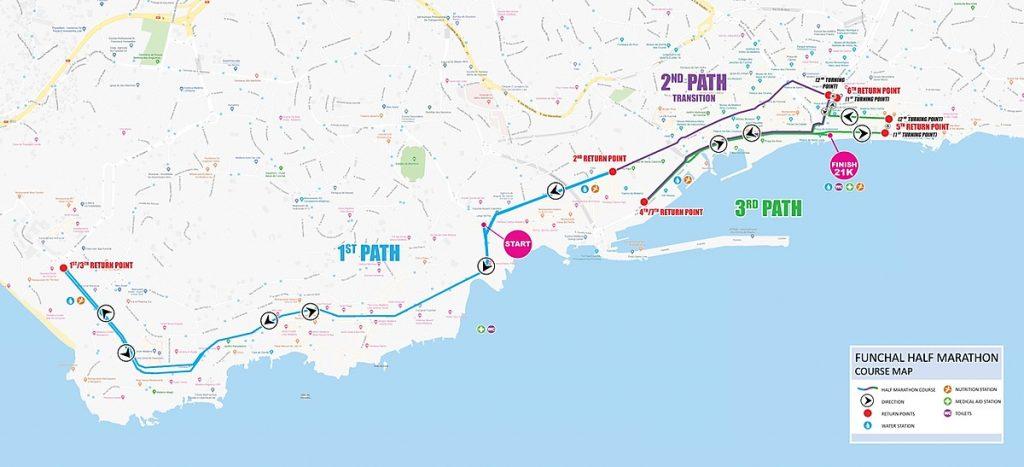 The course of the Funchal Half Marathon (Meia Maratona do Funchal) 2021