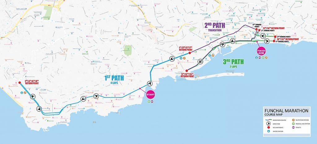 The course of the Funchal Marathon (Maratona do Funchal) 2021