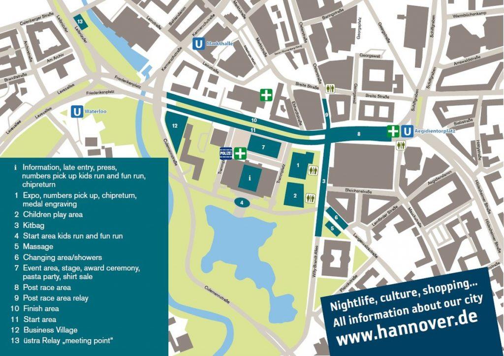 План зоны старта и финиша Ганноверского марафона (HAJ Hannover Marathon) 2021