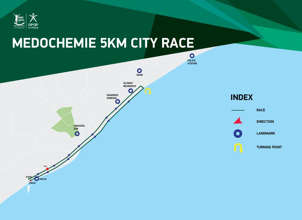 Трасса забега на 5 км в рамках Лимасольского марафона (OPAP Limassol Marathon) 2021