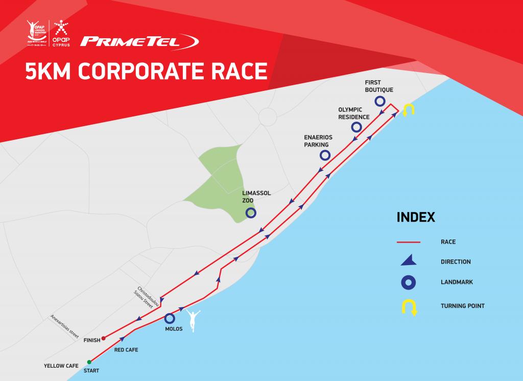 Трасса командного забега на 5 км в рамках Лимасольского марафона (OPAP Limassol Marathon) 2021