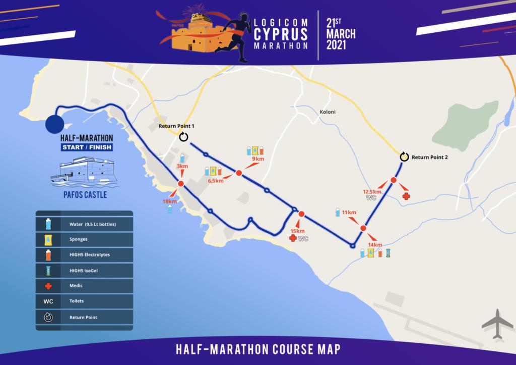 Course of the Cyprus Half Marathon 2021