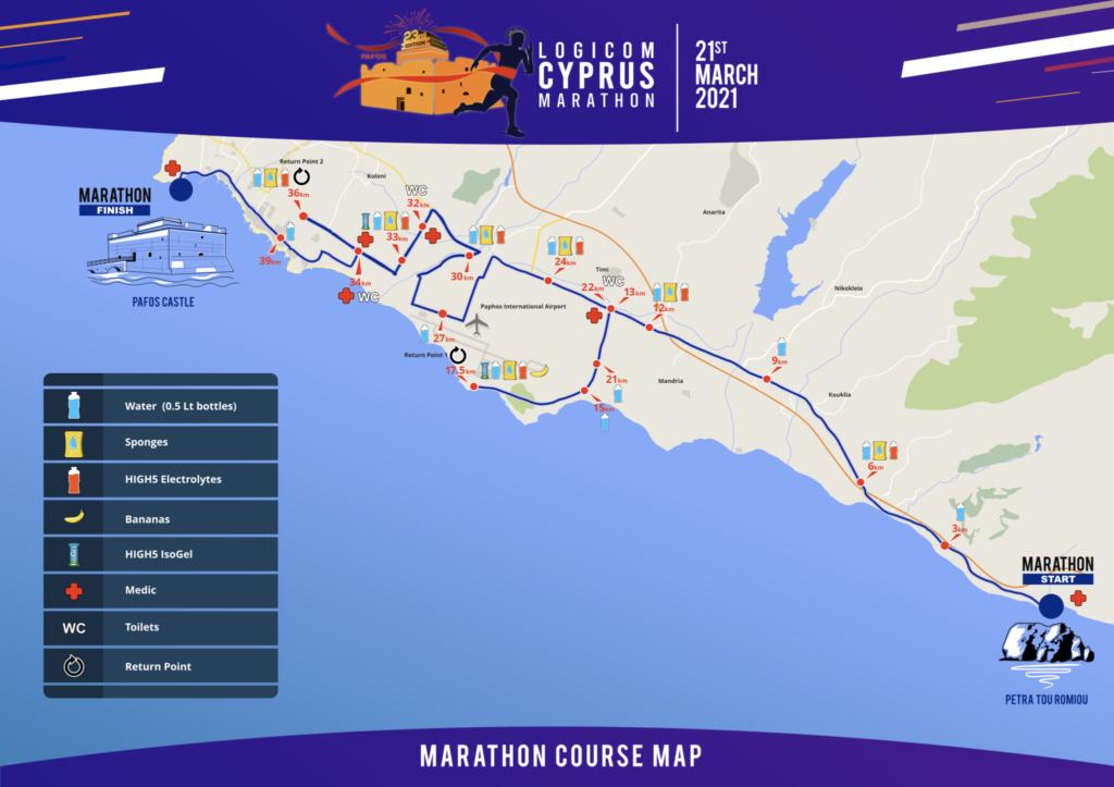 Course of the Cyprus Marathon (Logicom Cyprus Marathon) 2021