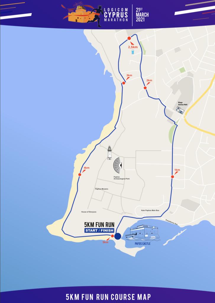 Course of the 5km Race, Cyprus Marathon (Logicom Cyprus Marathon) 2021