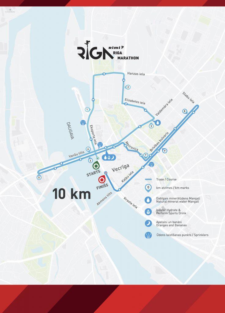 Трасса забега на 10 км в рамках Рижского марафона (Tet Riga Marathon, Tet Rīgas maratons) 2019