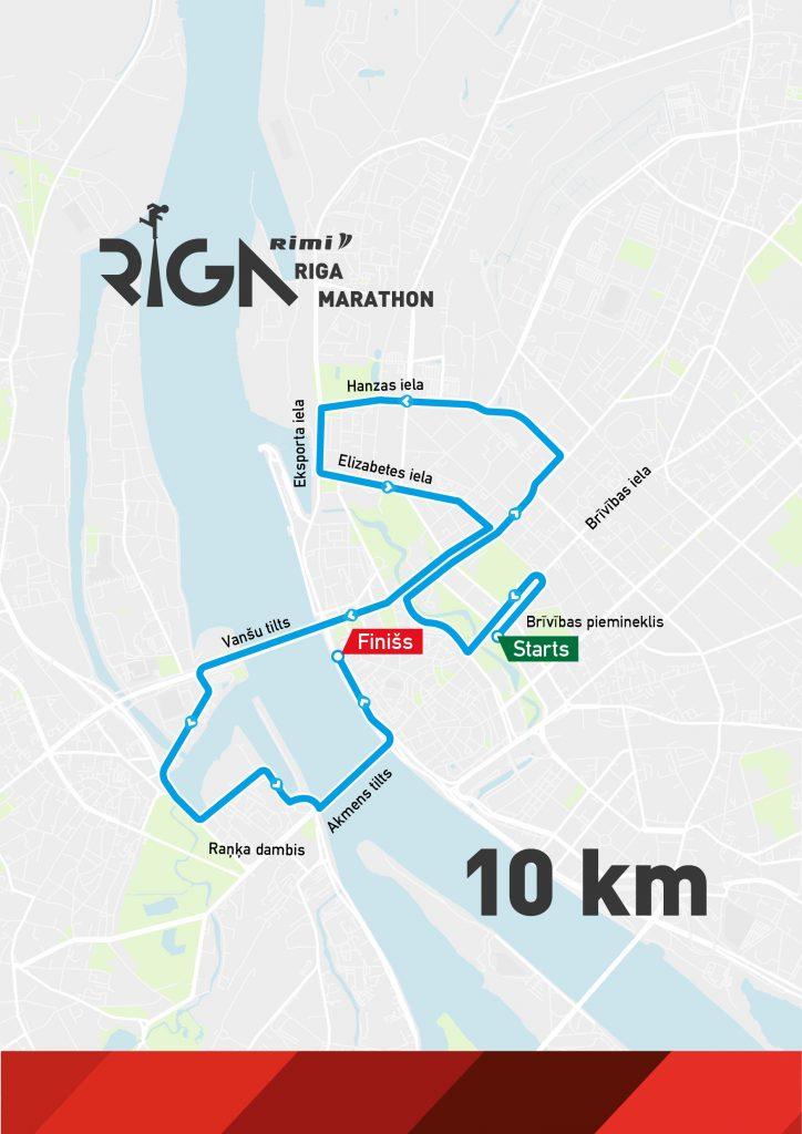 Трасса забега на 10 км в рамках Рижского марафона (Rimi Riga Marathon, Rimi Rīgas maratons) 2020