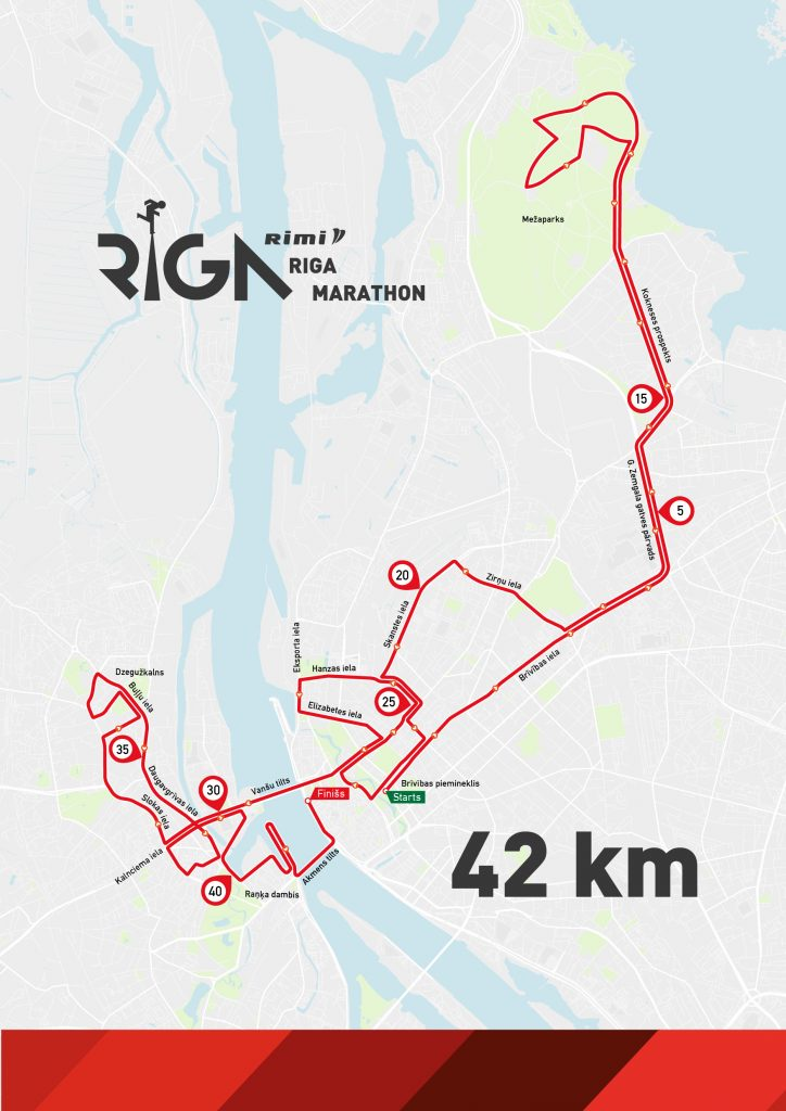 Трасса Рижского марафона (Rimi Riga Marathon, Rimi Rīgas maratons) 2020