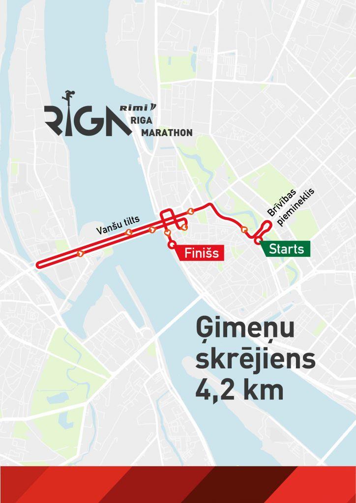 Трасса семейного забега на 4,2 км в рамках Рижского марафона (Rimi Riga Marathon, Rimi Rīgas maratons) 2020