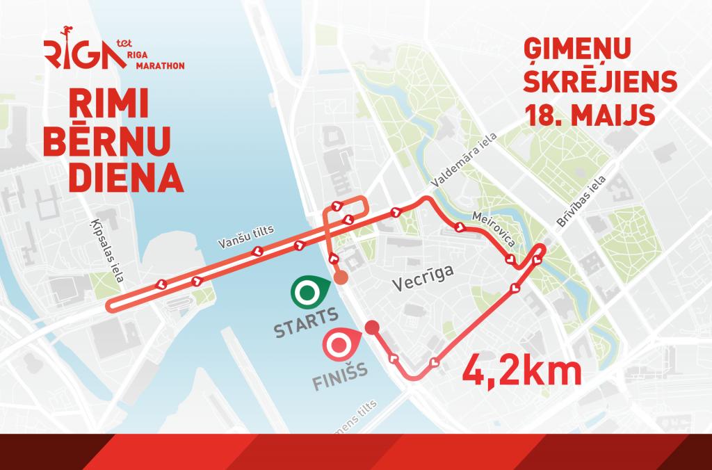 Трасса семейного забега на 4,2 км в рамках Рижского марафона (Tet Riga Marathon, Tet Rīgas maratons) 2019