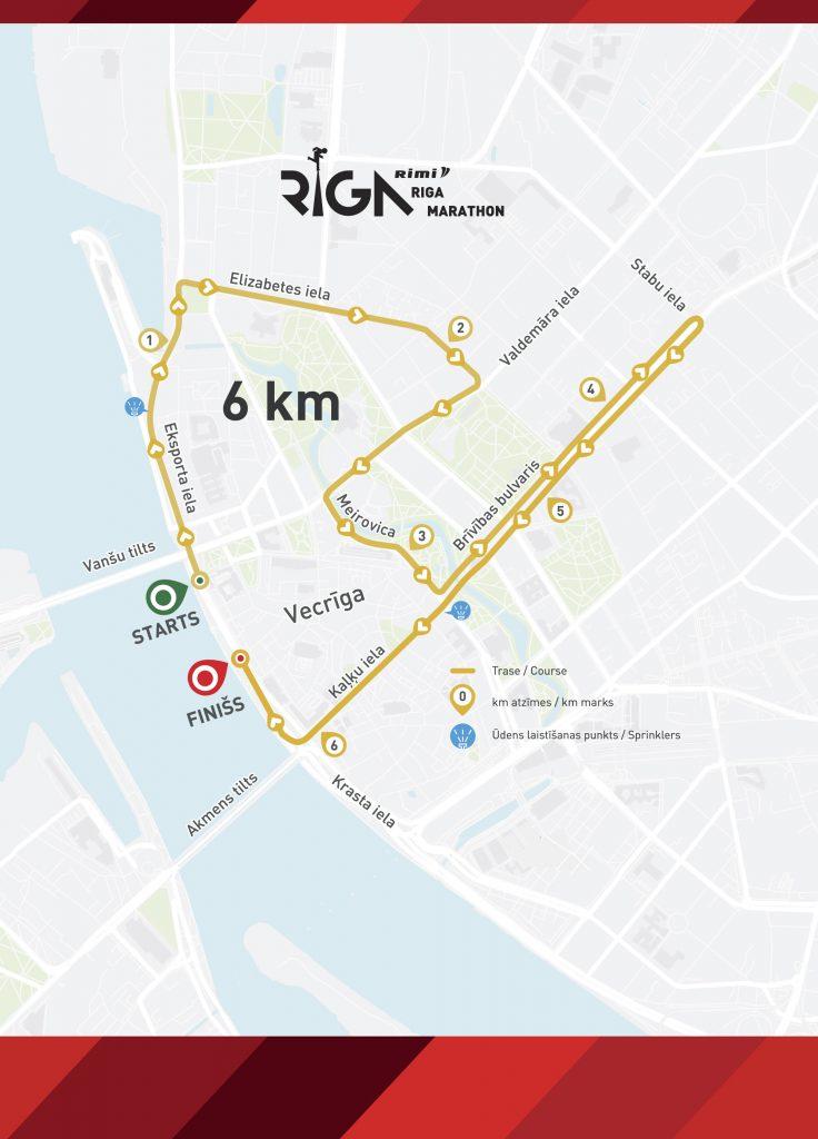 Трасса забега на 6 км в рамках Рижского марафона (Tet Riga Marathon, Tet Rīgas maratons) 2019