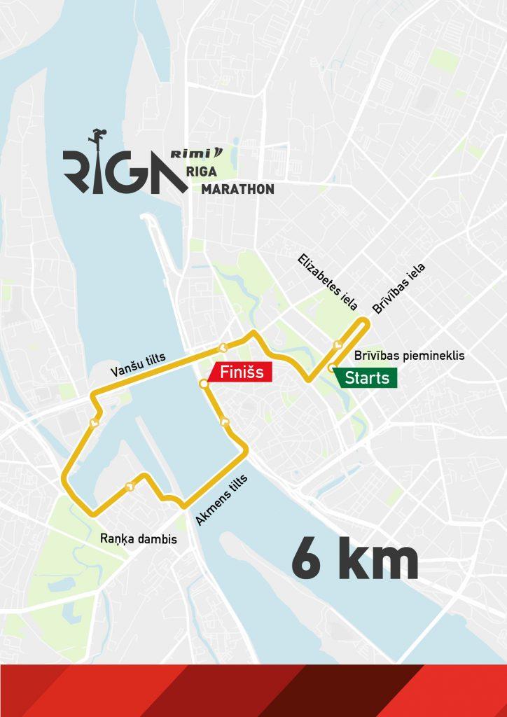 Трасса забега на 6 км в рамках Рижского марафона (Rimi Riga Marathon, Rimi Rīgas maratons) 2020