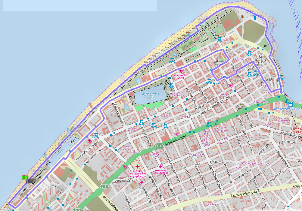 Трасса Батумского полумарафона (Great Batumi Night Race) 2020, 1-й круг