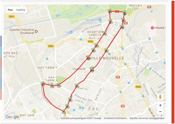 Трасса забега на 10 км в рамках Фесского марафона (Marathon International de Fès) 2020