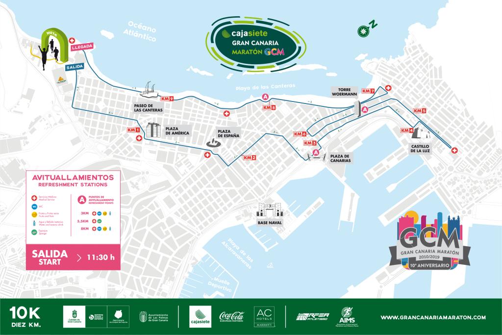 Трасса забега на 10 км в рамках Гран-канарского марафона (Cajasiete Gran Canaria Maratón) 2019