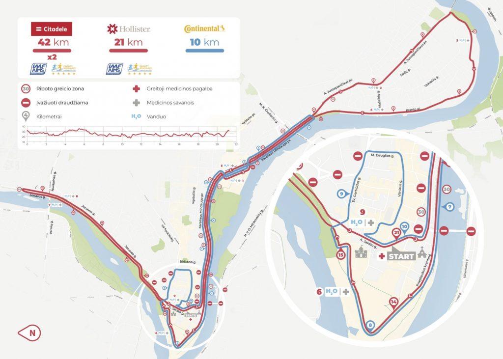 Трасса Каунасского марафона (Citadele Kauno Maratonas) и полумарафона 2020 с профилем высот