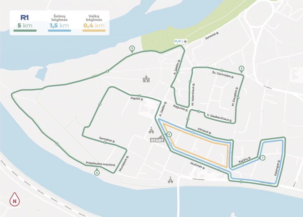 Трасса забегов на 5 км,1,5 км и 0,4 км в рамках Каунасского марафона (Citadele Kauno Maratonas) 2020