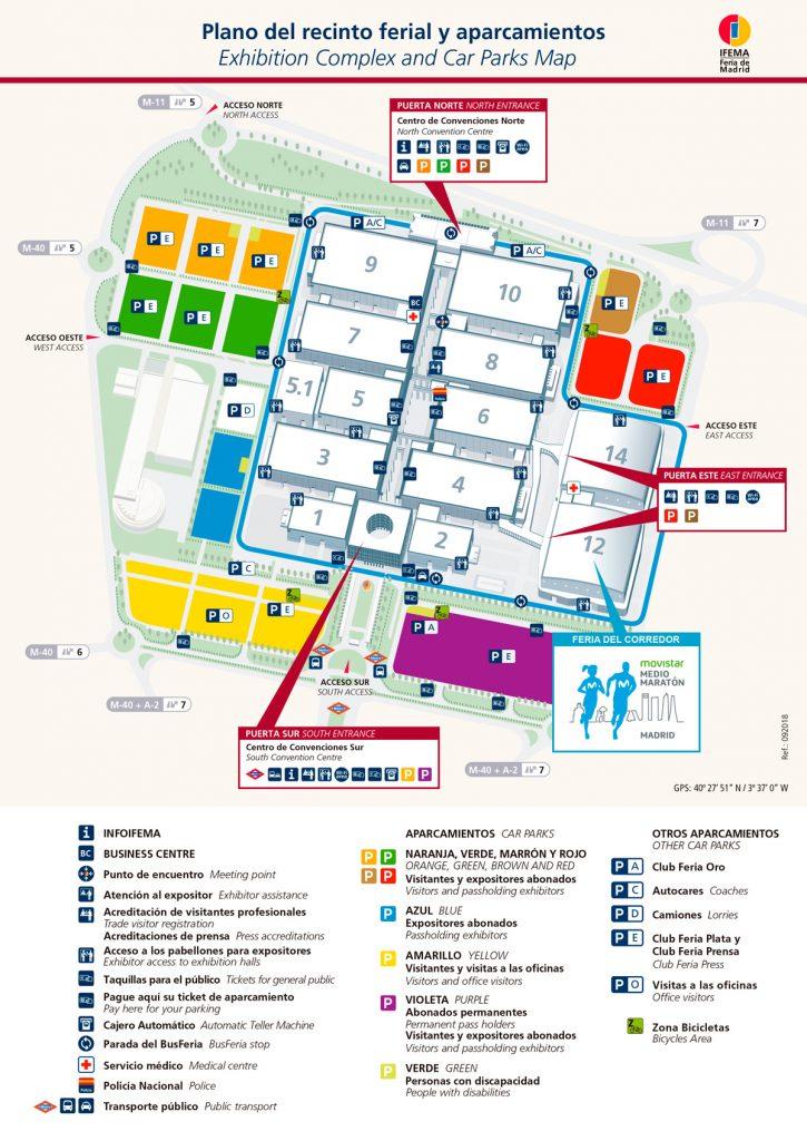 План выставочного комплекса IFEMA --- Feria de Madrid, места проведения выставки Мадридского полумарафона (Movistar Medio Maratón de Madrid) 2021