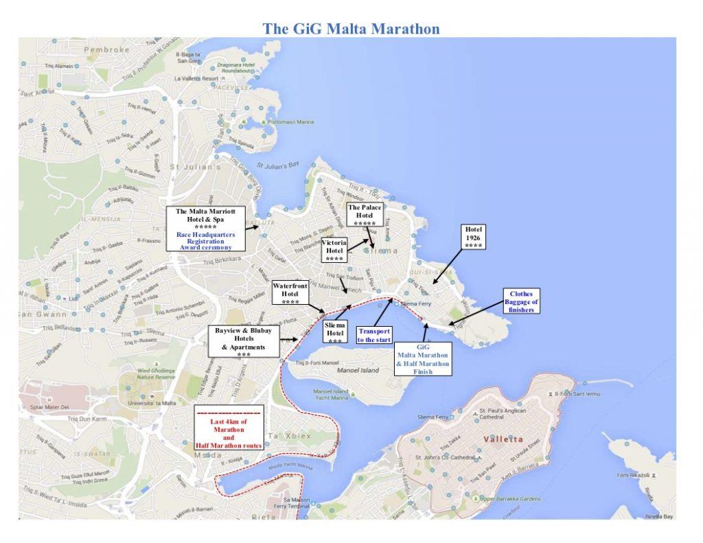 Карта финиша Мальтийского марафона (GiG Malta Marathon) и полумарафона 2020